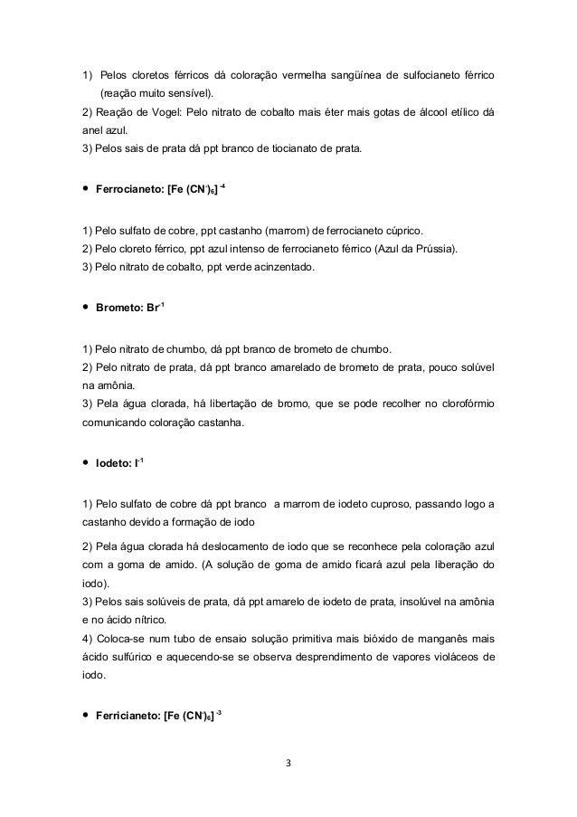 Grupo I ao VI (Identificação de ânions) Slide 3
