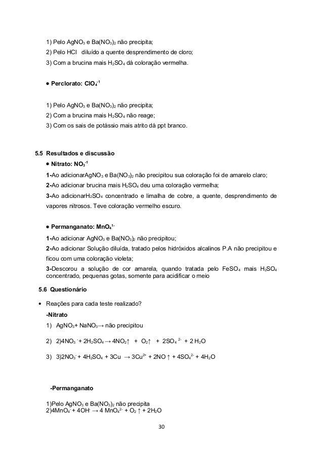 1) Pelo AgNO3 e Ba(NO3)2 não precipita;   2) Pelo HCl diluído a quente desprendimento de cloro;   3) Com a brucina mais H2...