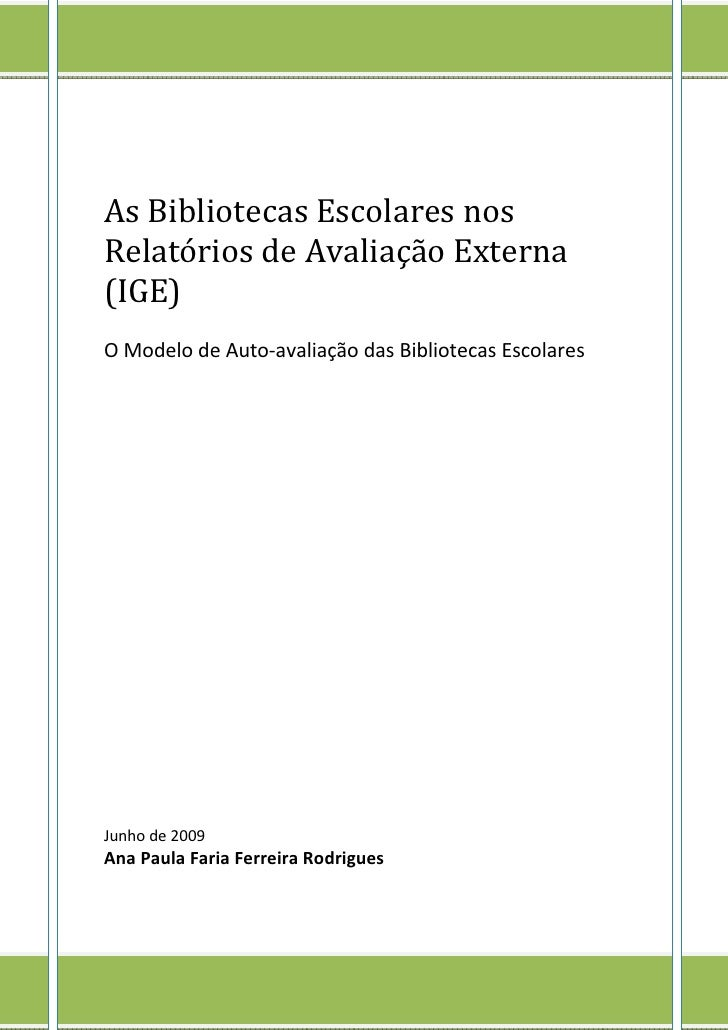 RelatóRios Av Externa Ana Paula Rodrigues