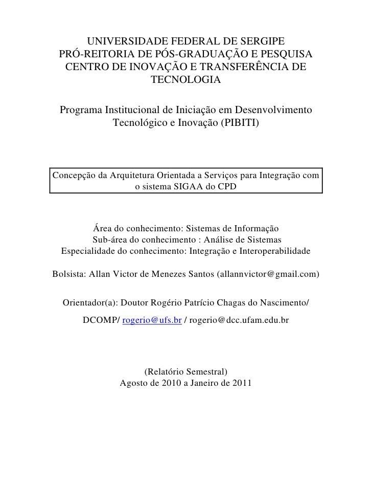 UNIVERSIDADE FEDERAL DE SERGIPE PRÓ-REITORIA DE PÓS-GRADUAÇÃO E PESQUISA  CENTRO DE INOVAÇÃO E TRANSFERÊNCIA DE           ...