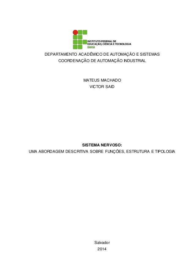 DEPARTAMENTO ACADÊMICO DE AUTOMAÇÃO E SISTEMAS COORDENAÇÃO DE AUTOMAÇÃO INDUSTRIAL MATEUS MACHADO VICTOR SAID SISTEMA NERV...