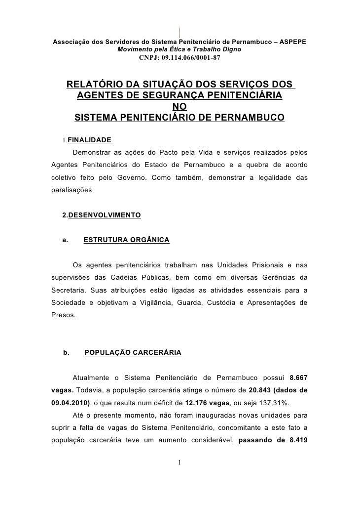 Associação dos Servidores do Sistema Penitenciário de Pernambuco – ASPEPE                   Movimento pela Ética e Trabalh...