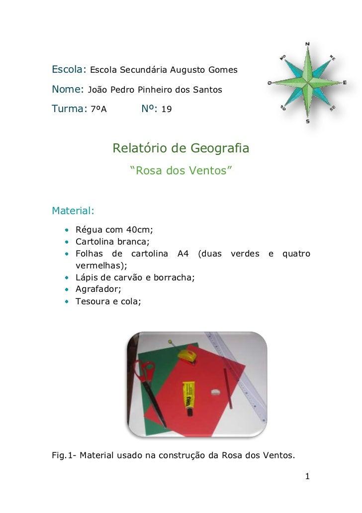 Escola: Escola Secundária Augusto GomesNome: João Pedro Pinheiro dos SantosTurma: 7ºA          Nº: 19             Relatóri...