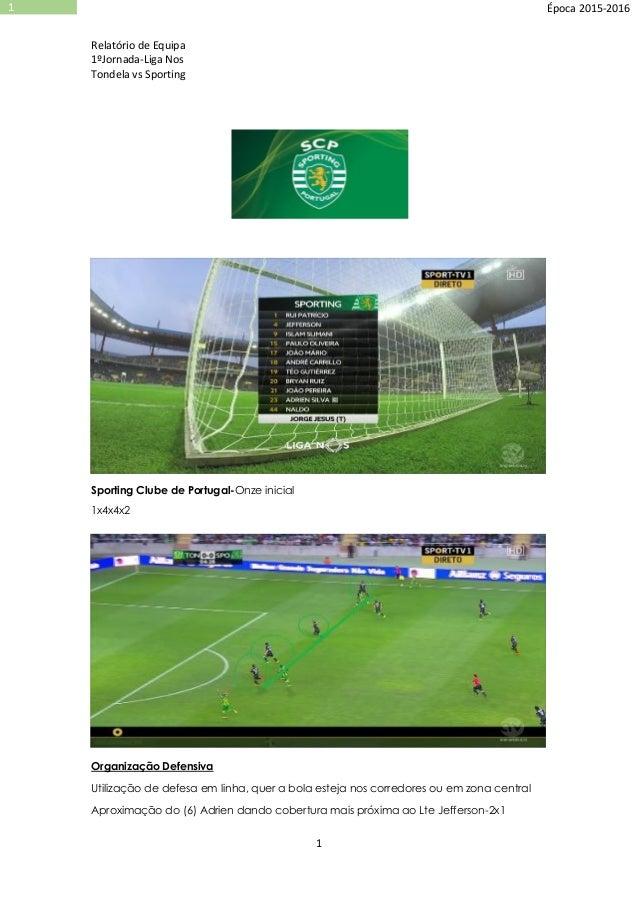 Relatório de Equipa 1ºJornada-Liga Nos Tondela vs Sporting 1 1 Época 2015-2016 Sporting Clube de Portugal-Onze inicial 1x4...
