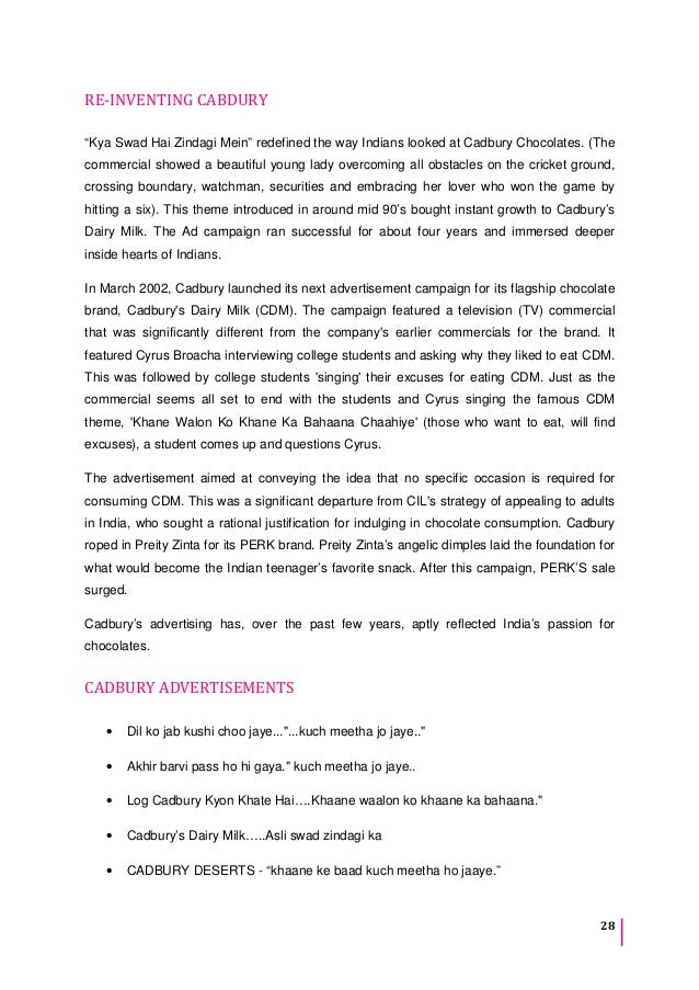 cadbury marketing and advertising prepare essay