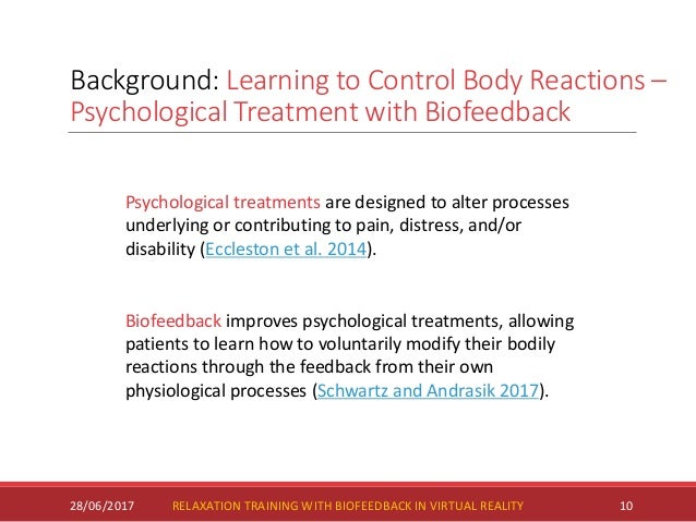 Background: Learning to Control Body Reactions – Psychological Treatment with Biofeedback 28/06/2017 10 Psychological trea...