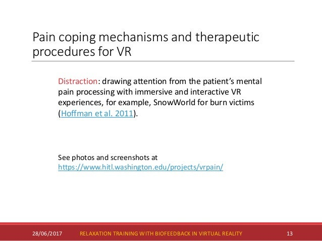 Pain coping mechanisms and therapeutic procedures for VR 28/06/2017 13 Distraction: drawing attention from the patient's m...