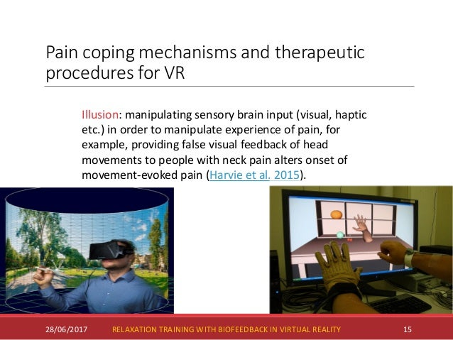 Pain coping mechanisms and therapeutic procedures for VR 28/06/2017 15 Illusion: manipulating sensory brain input (visual,...