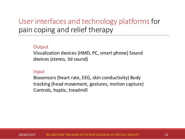 User interfaces and technology platforms for pain coping and relief therapy 28/06/2017 22 Output Visualization devices (HM...