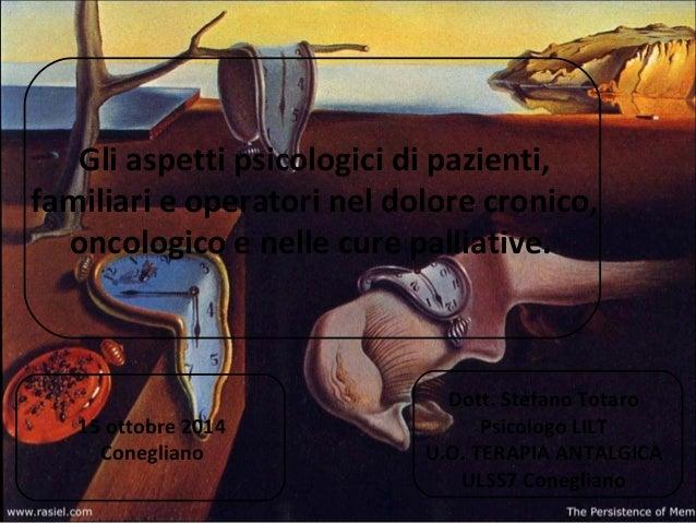 Gli aspetti psicologici di pazienti, familiari e operatori nel dolore cronico, oncologico e nelle cure palliative. Dott. S...