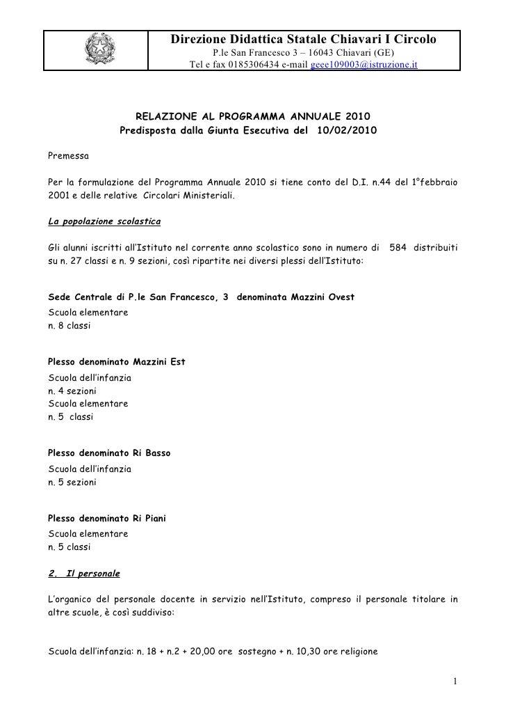 Direzione Didattica Statale Chiavari I Circolo                                         P.le San Francesco 3 – 16043 Chiava...