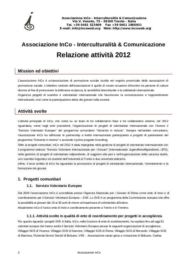 Associazione InCo - Interculturalità & Comunicazione                                             Via V. Veneto, 75 - 38100...