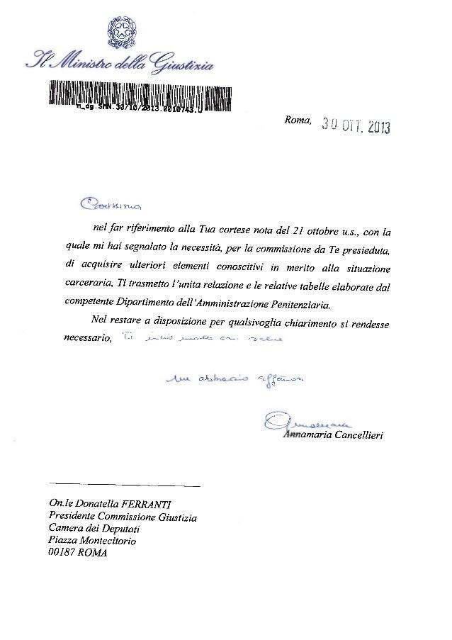 Relazione Cancellieri sulle carceri - 30 ottobre 2013