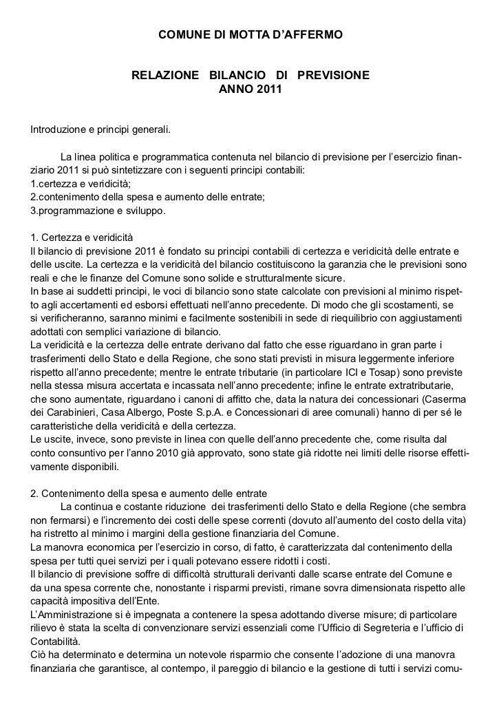 COMUNE DI MOTTA D'AFFERMO                        RELAZIONE BILANCIO DI PREVISIONE                                   ANNO 2...
