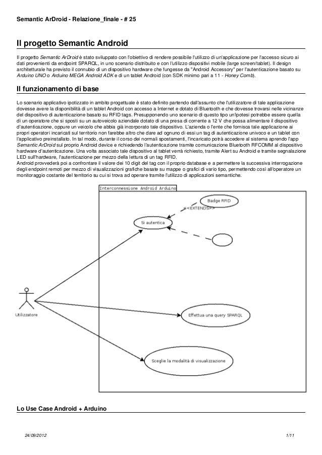 Semantic ArDroid - Relazione_finale - # 25  Il progetto Semantic Android Il progetto Semantic ArDroid è stato sviluppato c...