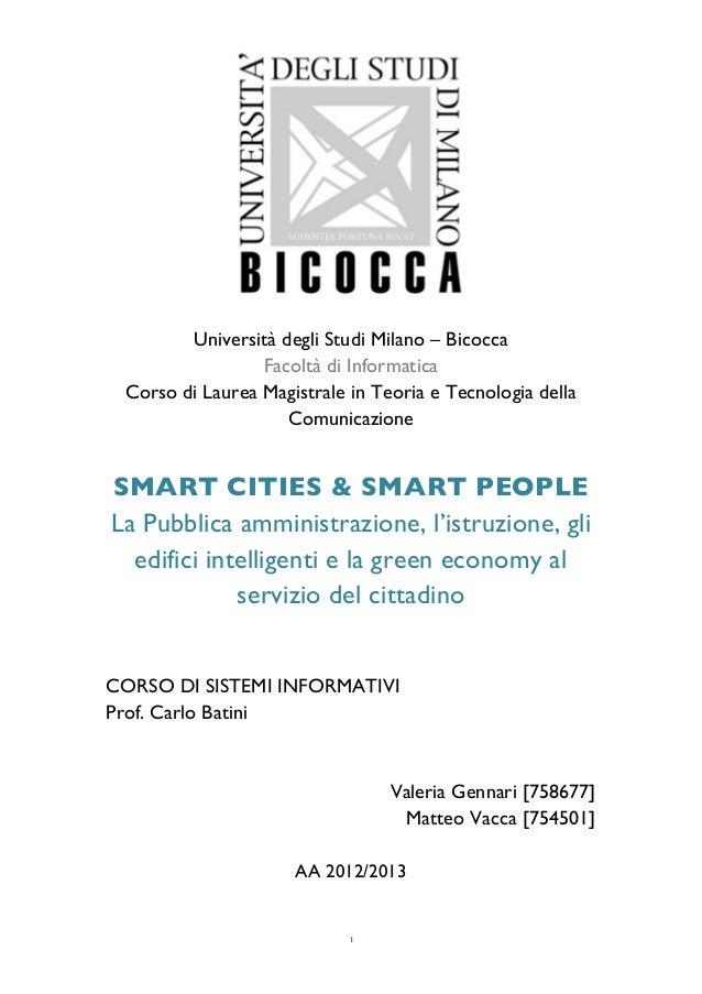 1                                        Università degli Studi Milano – Bicocca Facoltà di In...