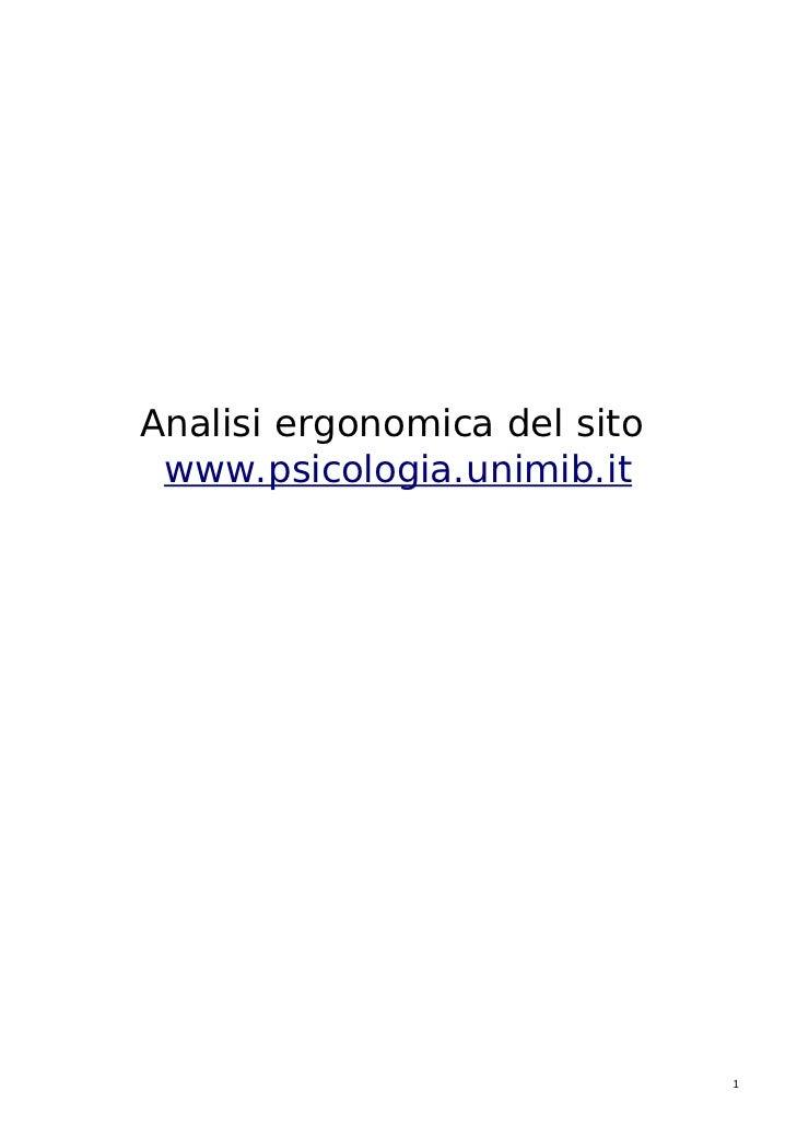 Analisi ergonomica del sito www.psicologia.unimib.it                              1