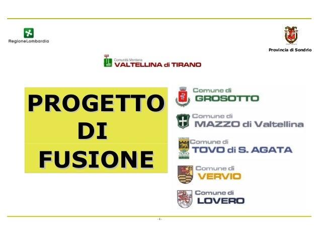 Provincia di Sondrio PROGETTOPROGETTO DIDI FUSIONEFUSIONE - 1 -