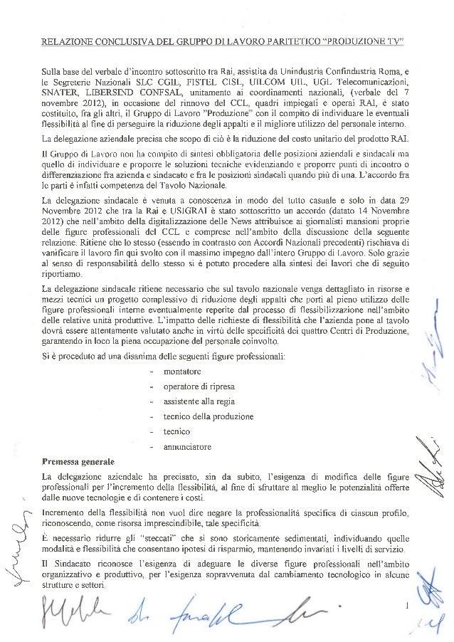 Relazione gruppo paritetico