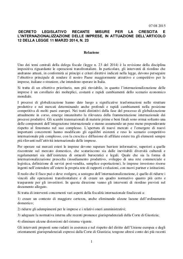 1 07 08 2015 DECRETO LEGISLATIVO RECANTE MISURE PER LA CRESCITA E L'INTERNAZIONALIZZAZIONE DELLE IMPRESE, IN ATTUAZIONE DE...