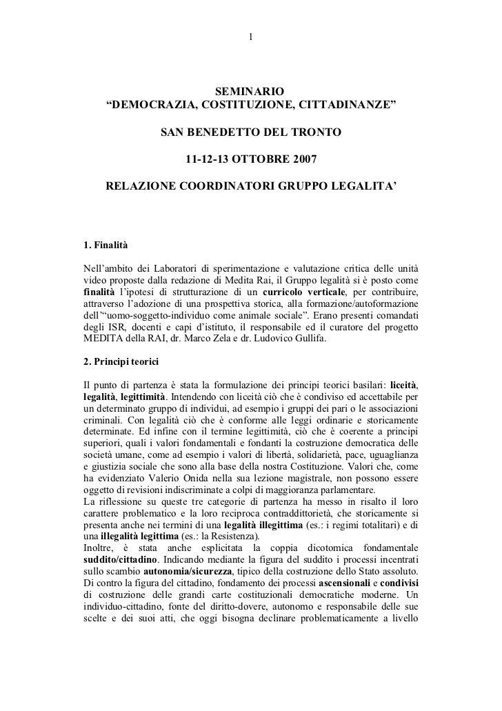 """1                    SEMINARIO     """"DEMOCRAZIA, COSTITUZIONE, CITTADINANZE""""                      SAN BENEDETTO DEL TRONTO ..."""