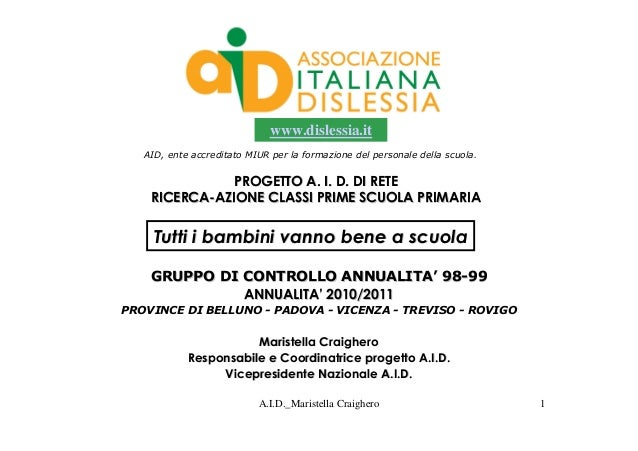 www.dislessia.it   AID, ente accreditato MIUR per la formazione del personale della scuola.               PROGETTO A. I. D...