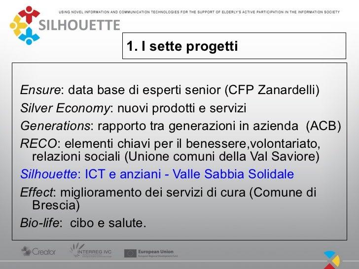 1. I sette progettiEnsure: data base di esperti senior (CFP Zanardelli)Silver Economy: nuovi prodotti e serviziGenerations...
