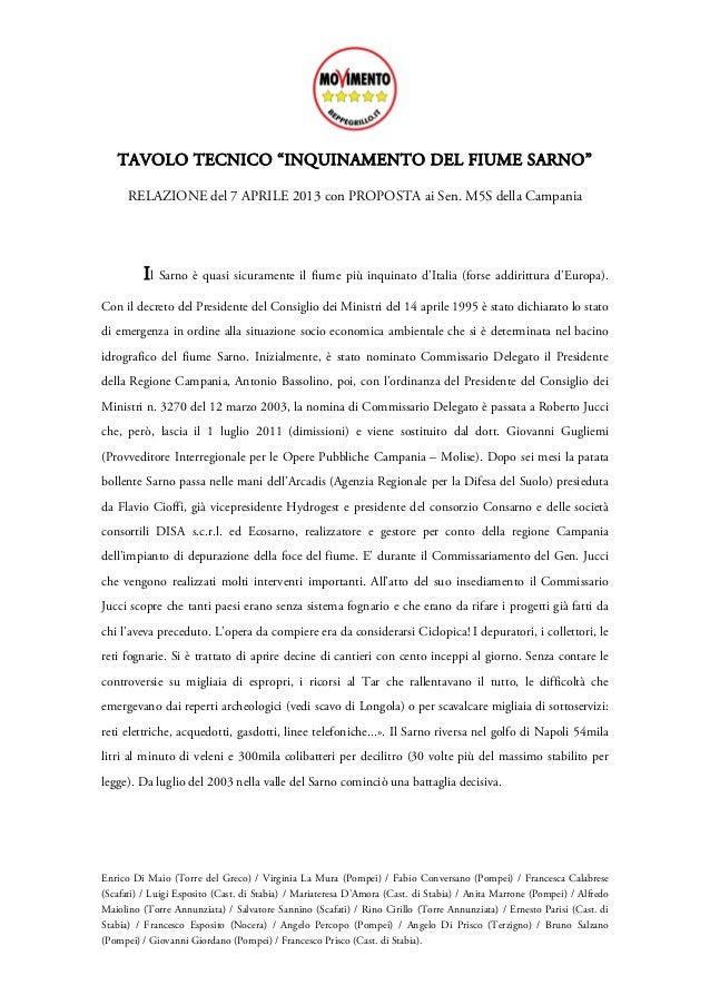 """TAVOLO TECNICO """"INQUINAMENTO DEL FIUME SARNO""""      RELAZIONE del 7 APRILE 2013 con PROPOSTA ai Sen. M5S della Campania    ..."""