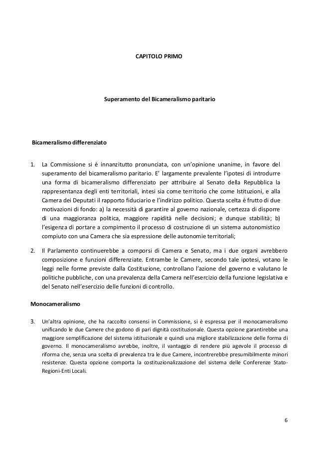 Relazione finale della commissione per le riforme for Senato della repubblica indirizzo
