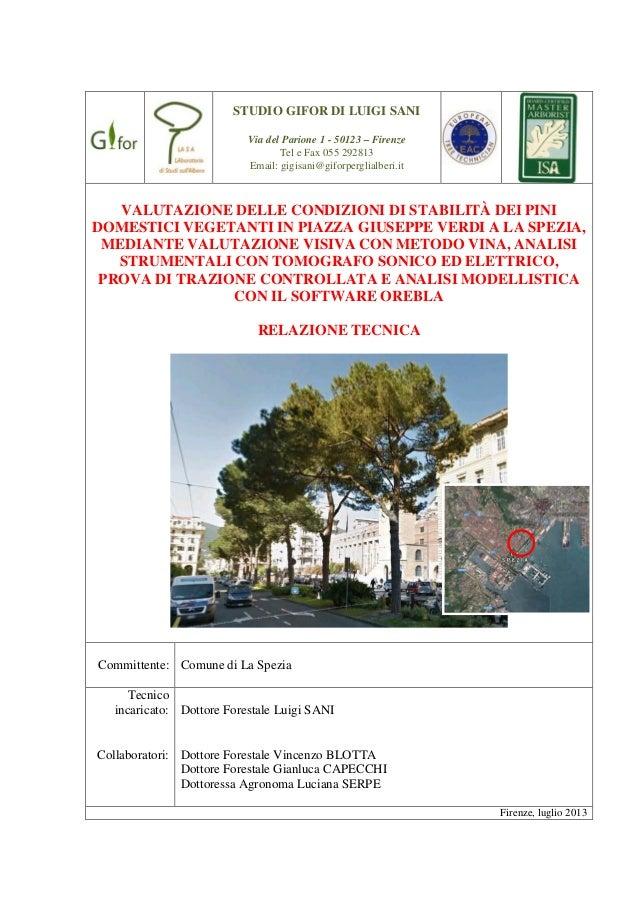 STUDIO GIFOR DI LUIGI SANI Via del Parione 1 - 50123 – Firenze Tel e Fax 055 292813 Email: gigisani@giforperglialberi.it  ...