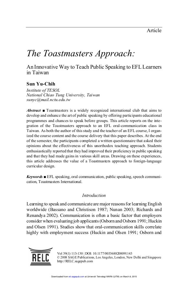 Article The Toastmasters Approach An Innovative Way To Teach Public Speaking EFL Learners In