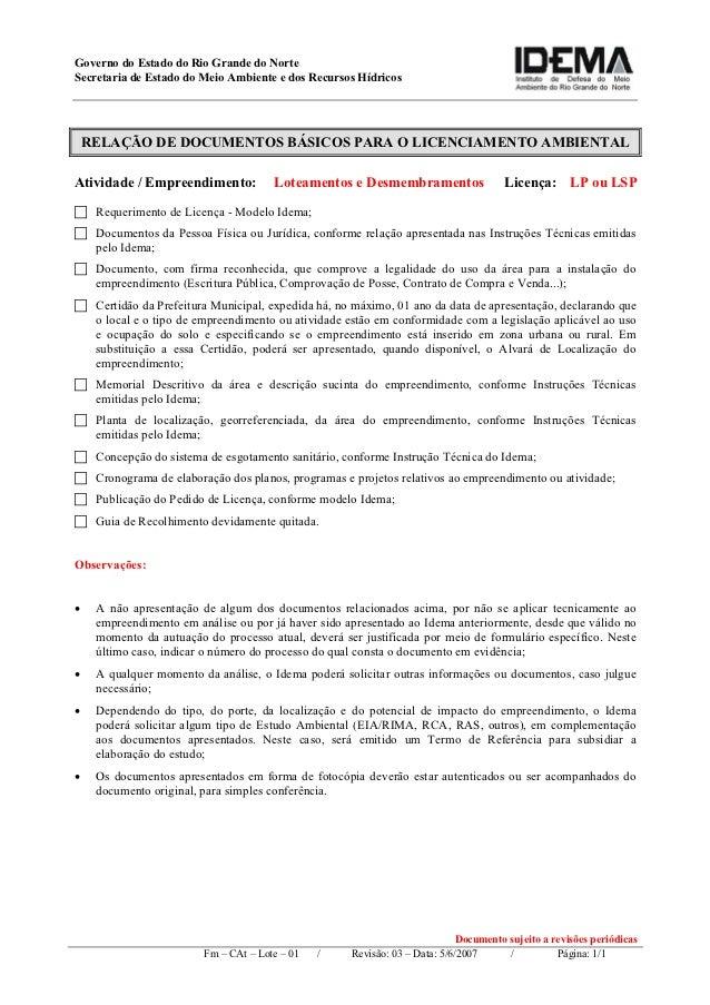 Governo do Estado do Rio Grande do NorteSecretaria de Estado do Meio Ambiente e dos Recursos Hídricos    RELAÇÃO DE DOCUME...