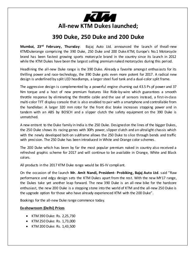 All-new KTM Dukes launched; 390 Duke, 250 Duke and 200 Duke Mumbai, 23rd February, Thursday: Bajaj Auto Ltd. announced the...