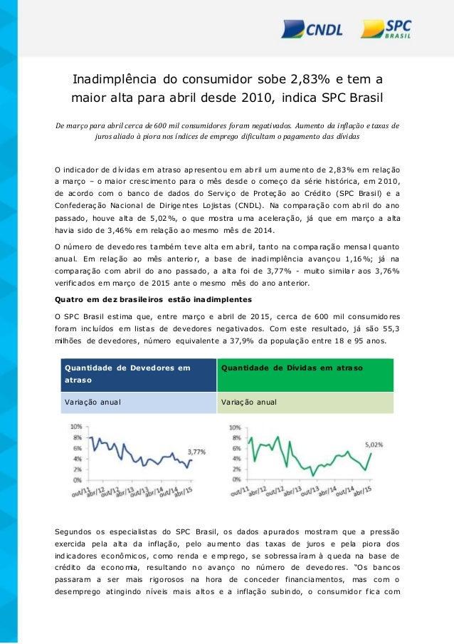 Inadimplência do consumidor sobe 2,83% e tem a maior alta para abril desde 2010, indica SPC Brasil De março para abril cer...