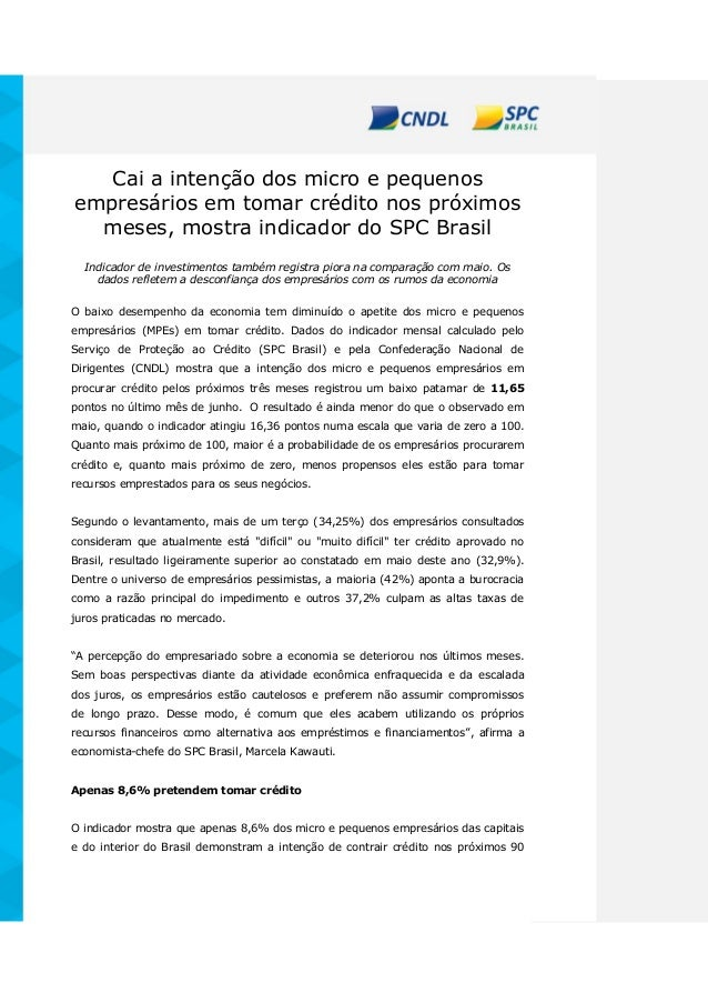Cai a intenção dos micro e pequenos empresários em tomar crédito nos próximos meses, mostra indicador do SPC Brasil Indica...