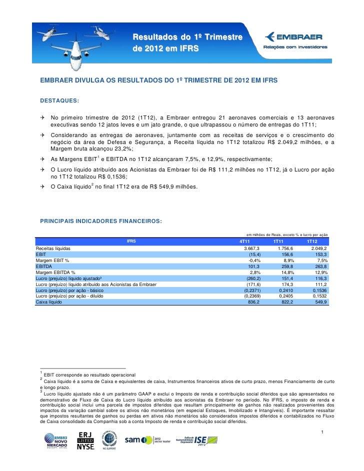 Resultados do 1º Trimestre                                                de 2012 em IFRS  EMBRAER DIVULGA OS RESULTADOS D...