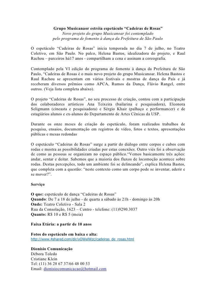 "Grupo Musicanaor estréia espetáculo ""Cadeiras de Rosas""                  Novo projeto do grupo Musicanoar foi contemplado ..."