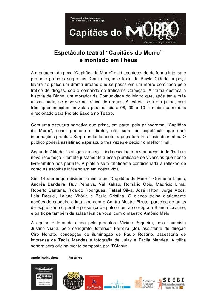 """Espetáculo teatral """"Capitães do Morro""""                       é montado em IlhéusA montagem da peça """"Capitães do Morro"""" est..."""