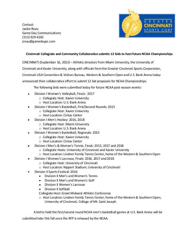 Contact: Jackie Reau Game Day Communications (513) 929-4263 jreau@gamedaypr.com Cincinnati Collegiate and Community Collab...