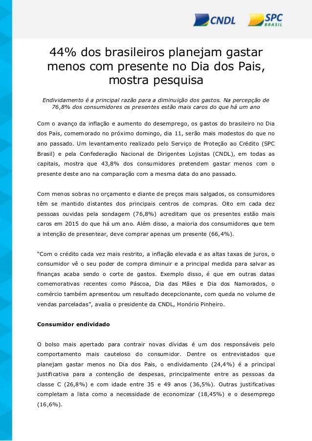 44% dos brasileiros planejam gastar menos com presente no Dia dos Pais, mostra pesquisa Endividamento é a principal razão ...