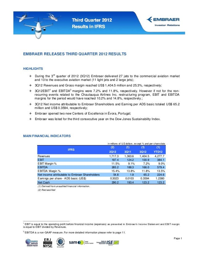 Third Quarter 2012                                                Results in IFRSEMBRAER RELEASES THIRD QUARTER 2012 RESUL...