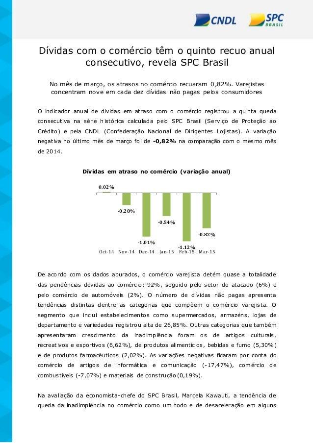 Dívidas com o comércio têm o quinto recuo anual consecutivo, revela SPC Brasil No mês de março, os atrasos no comércio rec...