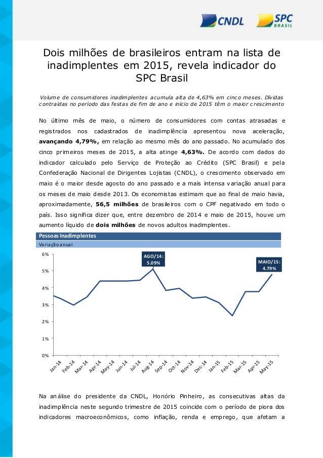 Dois milhões de brasileiros entram na lista de inadimplentes em 2015, revela indicador do SPC Brasil Volume de consumidore...