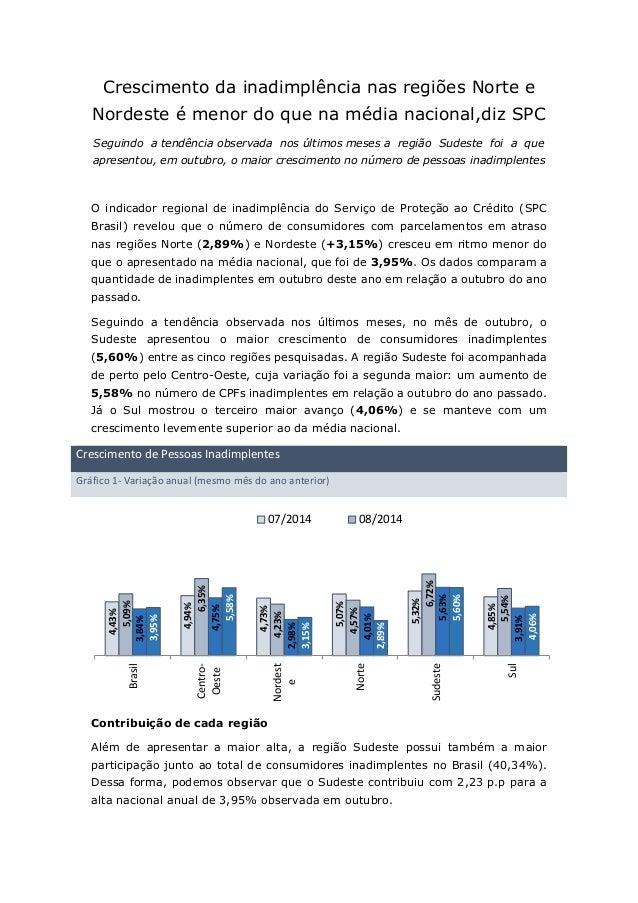 Crescimento da inadimplência nas regiões Norte e Nordeste é menor do que na média nacional,diz SPC  Seguindo a tendência o...