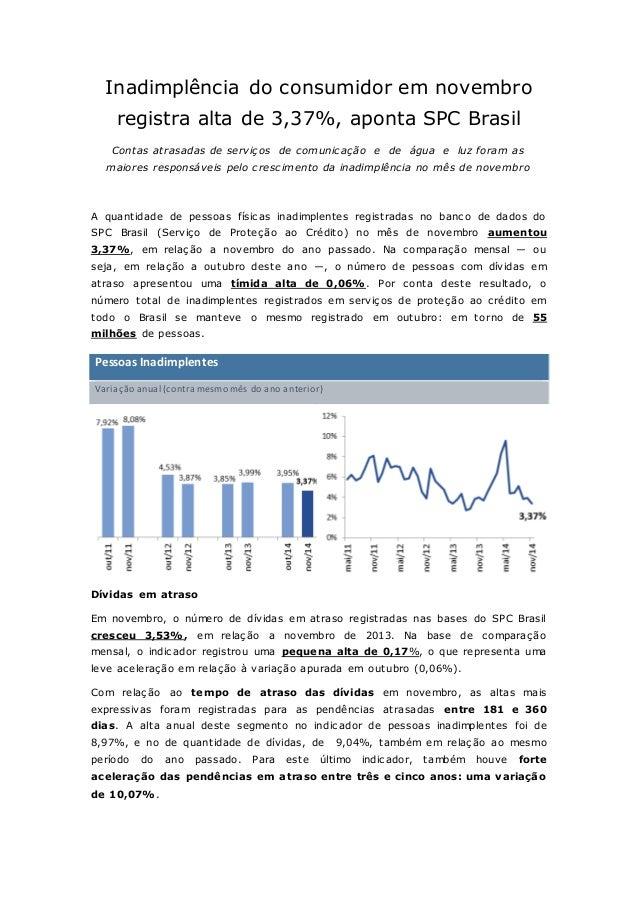 Inadimplência do consumidor em novembro  registra alta de 3,37%, aponta SPC Brasil  Contas atrasadas de serviços de comuni...