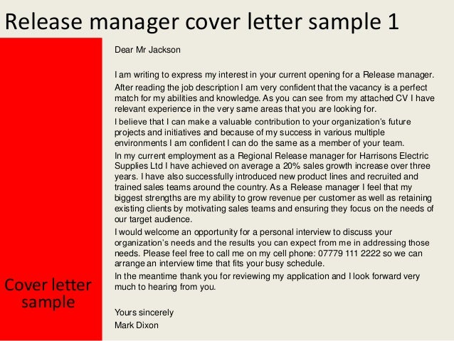 sample of a release letter