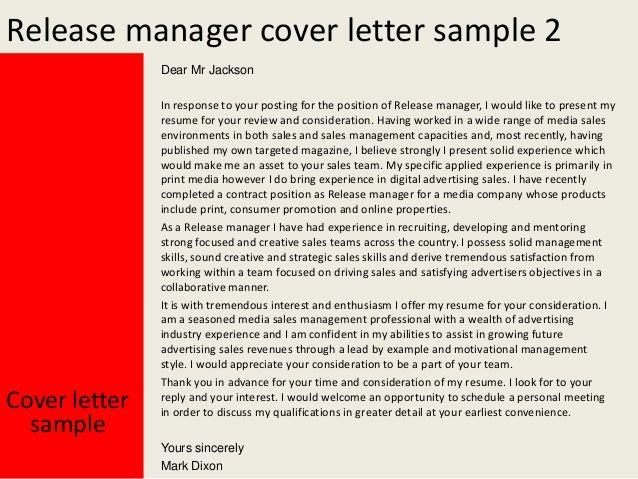 yours sincerely mark dixon 3 release manager cover letter sample - Cover Letter Examples For Resume