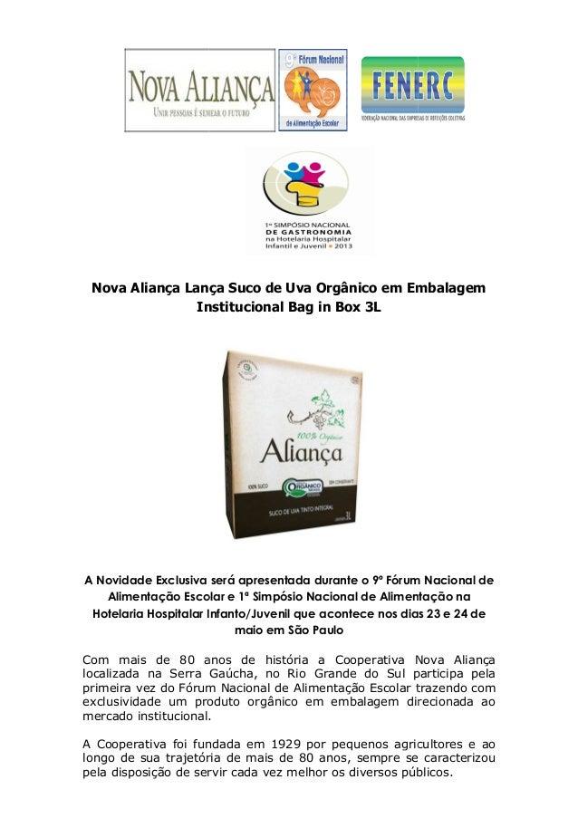 Nova Aliança LançaInstitucionalA Novidade ExclusivaAlimentação EscolarHotelaria Hospitalar Infanto/JuvenilCom mais de 80 a...