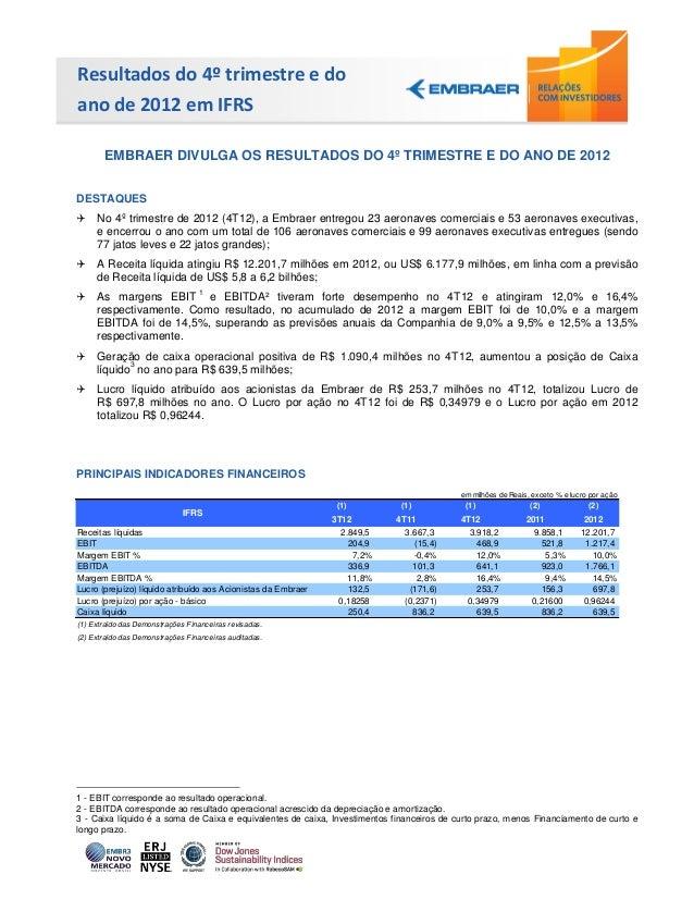 Resultados do 4º trimestre e doano de 2012 em IFRS       EMBRAER DIVULGA OS RESULTADOS DO 4º TRIMESTRE E DO ANO DE 2012DES...