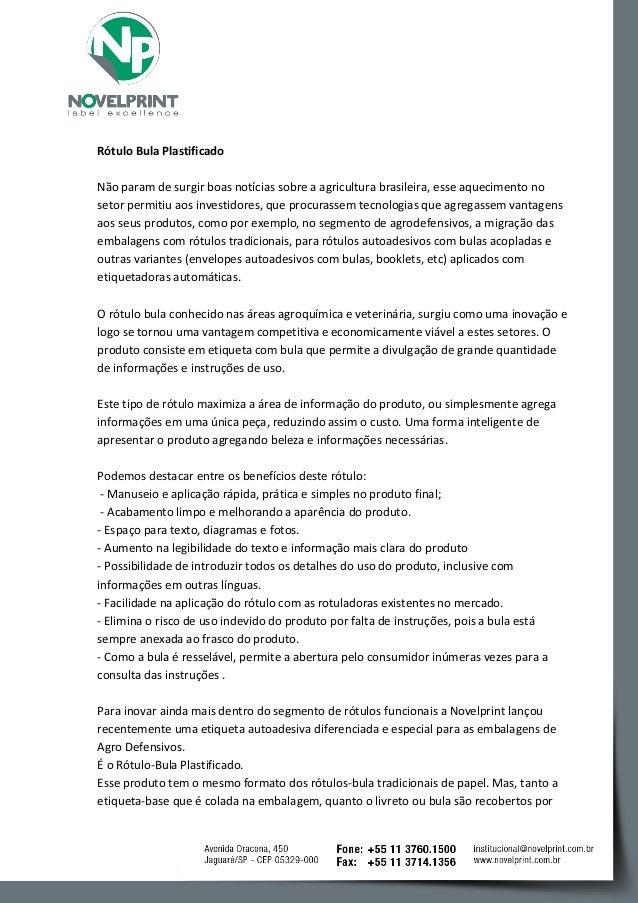 Rótulo Bula Plastificado  Não param de surgir boas notícias sobre a agricultura brasileira, esse aquecimento no setor perm...